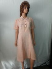 1930 40s Day Dress Peach Pink SemiSheer Embroidery Floral Chest 42 L  AS-IS