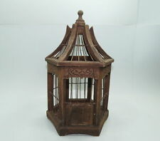 Small Vintage Painted Wood Metal Wire Decorative Hexagon Shaped Bird Cage
