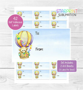 Monkey/Hot Air Balloon Gift Labels, 42 Self Adhesive Stickers/Birthday Gift Tags