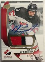 2019 Upper Deck Team Canada Juniors Premium Swatch Auto #64 Keean Washkurak /199