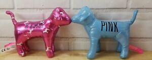 Lot of 2 VS Victoria's Secret Puppy Dog Plush Blue Shiny & Pink Shiny Dog Spots