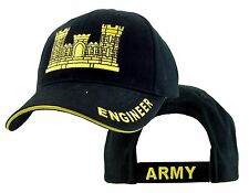 US ARMY ENGINEER - U.S. Army Engineer Black and Gold Military Baseball Cap Hat