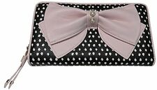 Betsey Johnson Zip Around WALLET BJ16515P POLKA DOTS, BLUSH BOW, Pearl accents!