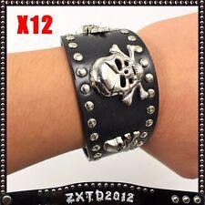 12 Pcs Black Leather Cuff- Mens or Womens Wrist Band WristBands Skull Design