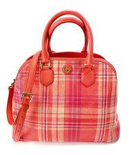 TORY BURCH Robinson Plaid Satchel Poppy Coral/Carnation Handbag Satchel $498