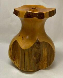 """Vintage Artisan Turned Juniper Wood Hand Carved Bud Vase/Candle Holder 8.5"""" Tall"""