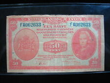 NETHERLANDS INDIES 50 CENT 1943 DUTCH EAST 30# BANK CURRENCY BANKNOTE MONEY