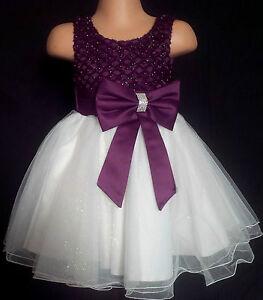 Grape Purple Ivory Flower Girl Bridesmaid Sparkly Diamante Party Dress 0m-13y