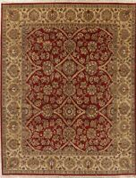 Agra Indian Area Rug Wool Handmade Oriental All-Over Floral 8x10 NEW Carpet RED