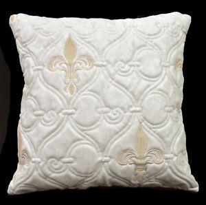 pj02a Cream White Nude Damask Faux Leather Emborider Foam Backing Cushion Cover