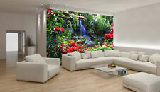 Wall Mural Wallpaper Forest Waterfall and Flowers - Photo Wallpaper (166)