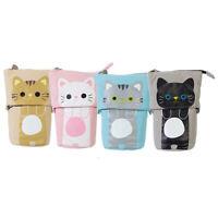 canvas Cartoon Cute Cat Telescopic Pencil Pouch Bag Stationery Pen Case Box P4X1