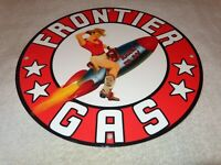 "VINTAGE FRONTIER GAS + WOMAN ON ROCKET 11 3/4"" PORCELAIN METAL GASOLINE OIL SIGN"