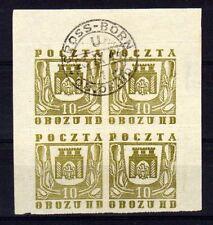 POLOGNE Oflag Camp de Gross Born Fischer timbre n° 18 oblitéré - Bloc de 4