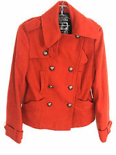 Millard Fillmore Womens Small Military Jacket Pea Coat Metal Button Wool Blend S