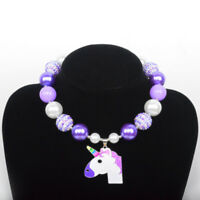 Girl Kid Pink Unicorn Pony Acrylic Beads Chunky Necklace Birthday/Christmas Gift