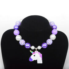 Girl Kid Pink Unicorn Pony Acrylic Beads Chunky Necklace Birthday/Christmas Gift