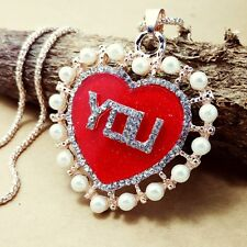 Fashion gold-plated Red heart pendant Crystal Long Necklace Sweater chain DL234