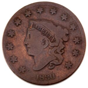 1830 1C Large Cent in VG Condition, Old Cleaning Nicely Retoned!