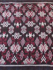 HAND WOVEN BLACK, MAROON, GRAY 100% COTTON IKAT FABRIC BY THE YARD