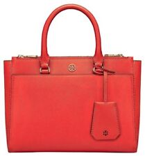 NWT Tory Burch Robinson Small Double Zip Tote Satchel Poppy Orange Red $398