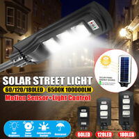 60/120/180 LED Solar Street Lights Waterproof Outdoor Lamp w/ Remote Control US