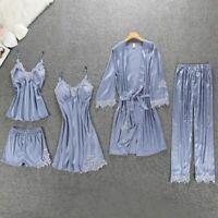 Ladies Silk Pyjamas Sexy Lingerie Luxury Nightwear 5 Piece Pyjama Set Homewear U