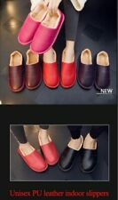 Leather Slippers Men Women Winter Warm Shoes Unisex Home Slippers  Plush Sewing