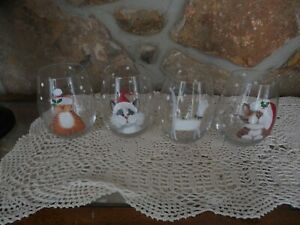 New Pier 1 Christmas Cats 18oz. Stemless Wine Glasses Set of 4 Adorable