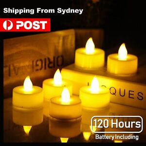 24x LED Candle Tea Light 120 hours Warm White Flicking Candles Battery Party Dec