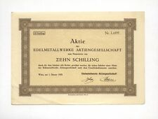 Edelmetallwerke AG – Aktie über 10 Schilling, Wien, 01.01.1928, mit Kupons !