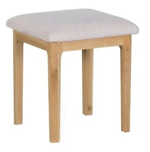 Scandi Oak Bedroom Dressing Table Stool / Solid Wood Seat with Fabric Pad