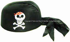 PIRATE SCARF HAT BLACK Skull Crossbones Pirates Party Favors Costume Accessory I