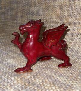 VINTAGE BANGOR WELSH POTTERY RED GLAZED WELSH DRAGON A/F