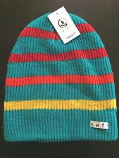 NEW Mens NEFF Teal Blue Yellow Red Striped Daily Beanie Knit Hat One Size Lagoon