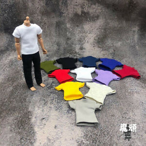 """1/12 Scale Short Sleeve T-shirt Tops Clothes Model for 6"""" Male Action Figure"""