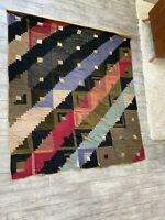 "Large Antique Patchwork Quilt Log Cabin 78"" x 72"" c 1900 Red Green Mixed Fabrics"
