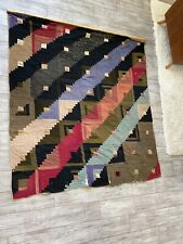 """Large Antique Patchwork Quilt Log Cabin 78"""" x 72"""" c 1900 Red Green Mixed Fabrics"""