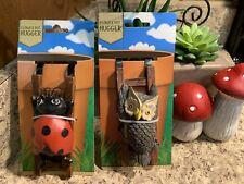 """Ladybug & Owl 4.5"""" Tall Whimsical Garden Pot Sitter Resin Garden Sitter Hl11"""