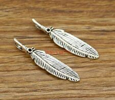 20 Bird Feather Charms Pendant Charm Bracelet DIY Metal Antique Silver 8x39 2738