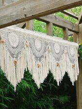 BOHO~Shabby Chic~Macrame Style Rustic Crochet Curtain Valance Wall Hanging~Beige