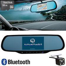 32GB Bluetooth Android Rearview Mirror GPS Navi Backup Camera DVR Smartwild W870