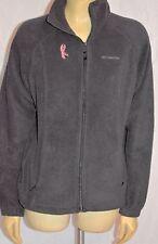 Women's Columbia Pink ribbon breast cancer zipper front black fleece jacket M