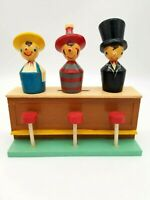 Vintage Wooden Figures Bar Accessories w/ Counter Stools Made in Japan
