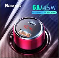 Baseus 45W 5V/6A Quick Charge 3.0USB Car Charger Type C PD Phone Charger Adapter