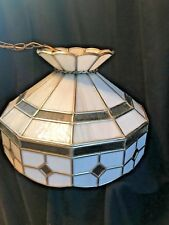 Vintage Tiffany Style Slag Glass Hanging Light Lamp Leaded White and grey