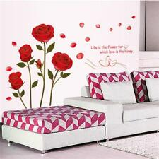 Romantic Red Rose Removable Quote Wall Sticker Mural Home Room Decor DIY Vinyl S