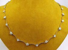 "DIAMOND by the Yard STARS Diamond Station Chain Necklace 18k White Gold 18"""