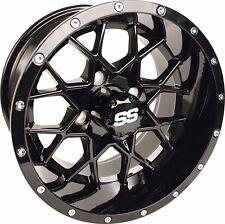 Set of 4 14x7 Glossy Black Vortex Golf Cart Wheels 3:4 Offset