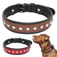Stud Leather Dog Collar for Medium Large Breed Labrador Pitbull Bulldog Red M-XL